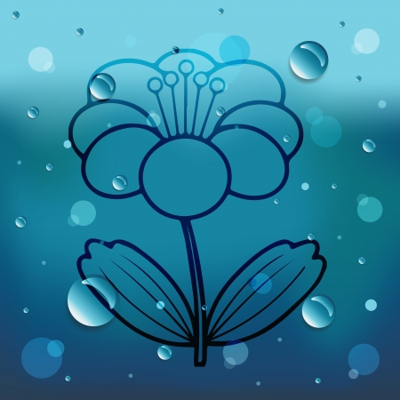 Flower on glass and water drop Vector