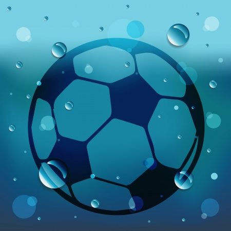 Football on glass and water drop