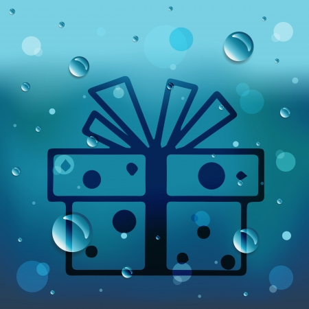 comin: Gift box on glass and water drop.EPS10