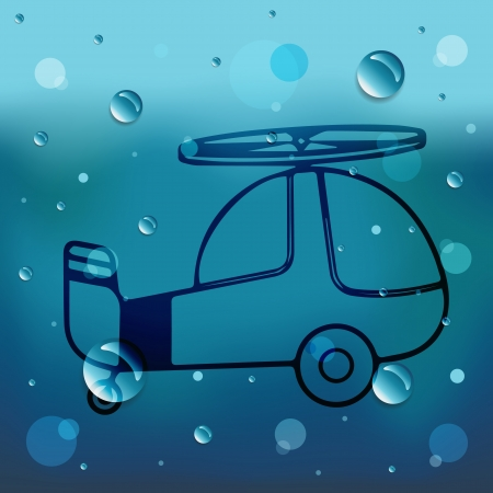 Helicopter on glass and water drop Illustration
