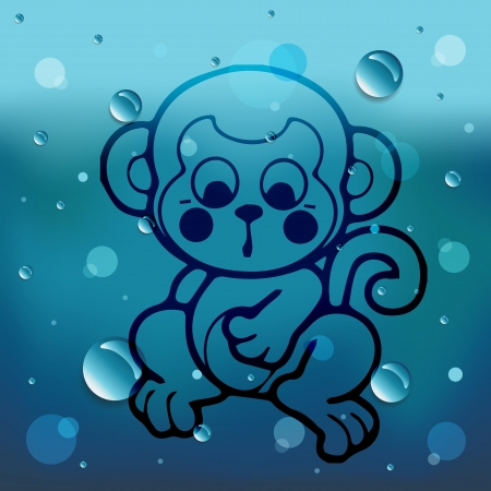 Cartoon monkey on glass and water drop Illustration
