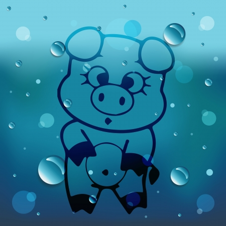 Piggy on glass and water drop Vector