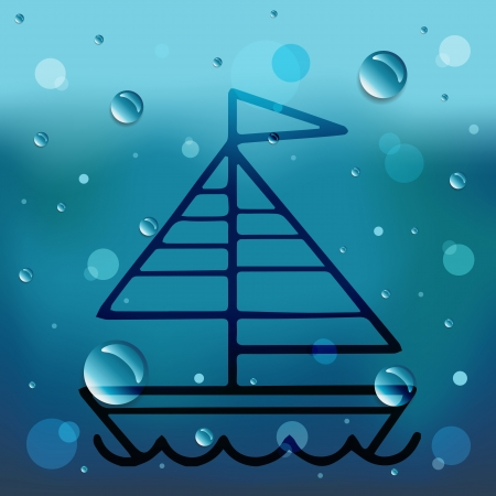 Sailboat on glass and water drop Illustration