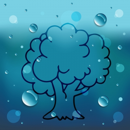 Tree on glass and water drop  Vector