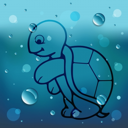 Turtle on glass and water drop Vector