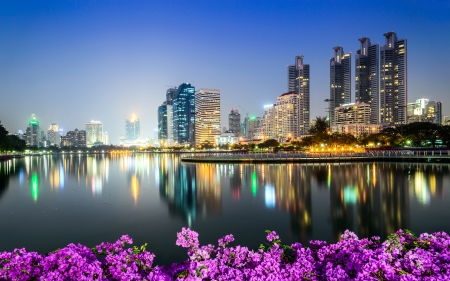 benjakitti: Bangkok city downtown at night with Bougainvillea flower foreground