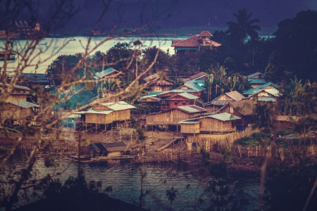 Village at sangklaburi, kanchanaburi, thailand (Vintage Tone Style) photo