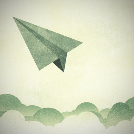 airplane take off: Paper Texture,Paper airplanes flying against sky and clouds Stock Photo