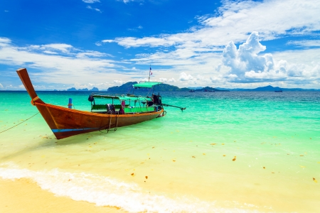 long tailed boat: Long tailed boat at Kradan island, Thailand Stock Photo