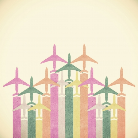 Old Paper texture,Colorful Airplanes vintage tone background