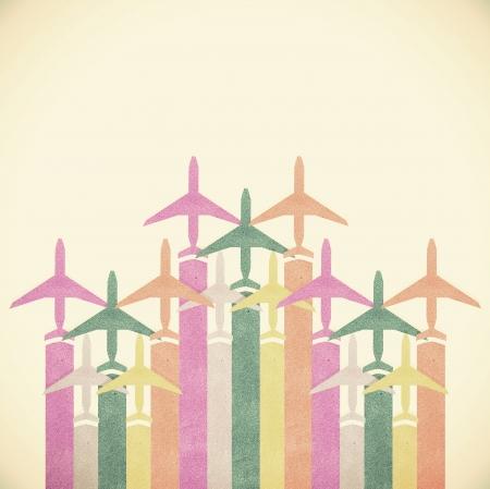 Oud papier textuur, Kleurrijke Vliegtuigen vintage toonachtergrond Stockfoto