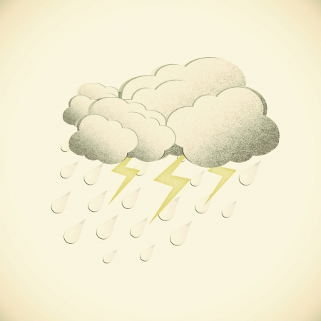 Grunge recycled paper rain and cloud on vintage tone  background photo