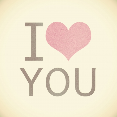 i love you recycled paper on vintage tone  background photo