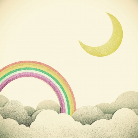 Old Grunge paper texture moon and rainbow on vintage tone  background photo