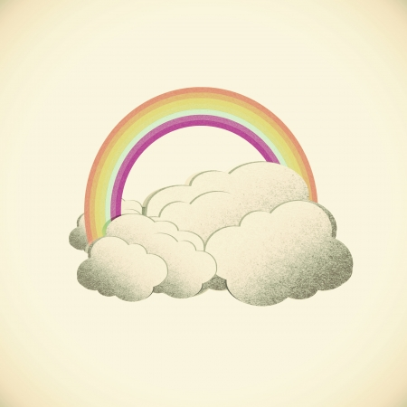 Grunge recycled paper rainbow on vintage tone background photo