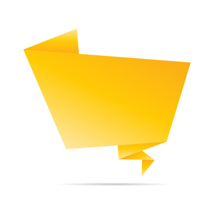 Abstract Yellow origami speech bubble.Vector abstract background. photo