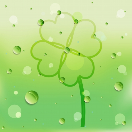 Clover leaf drawing on glass and water drop. photo