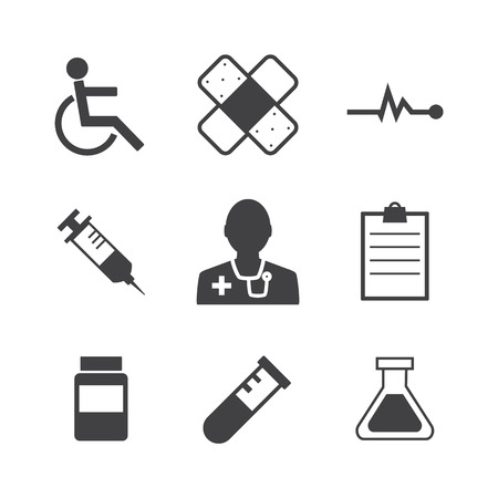 Black and white Medical Icons on retro Background. photo