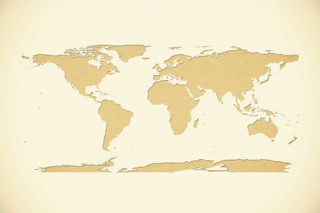 world map recycled paper on vintage tone background photo