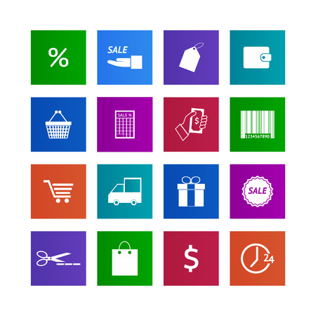 Shopping icons set. Illustration  illustration