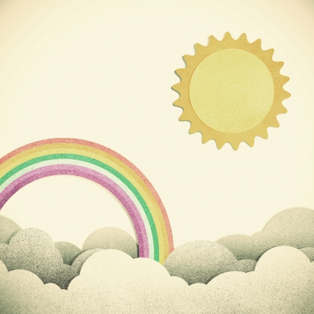 Grunge paper texture moon and rainbow on vintage tone  background photo