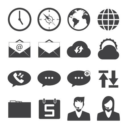 call log: Black and White mobile phone icons connection set