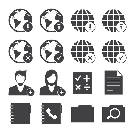 Black and White mobile phone icons network set. Vector