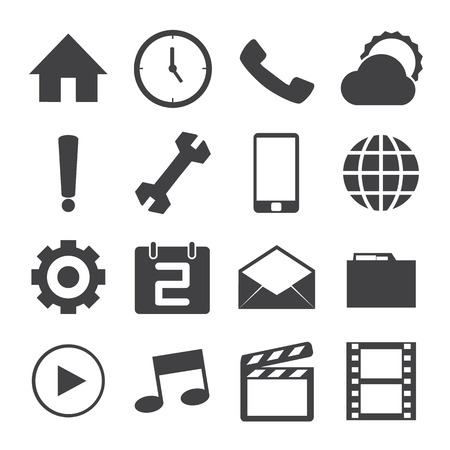 Black and White mobile icons set. Vector