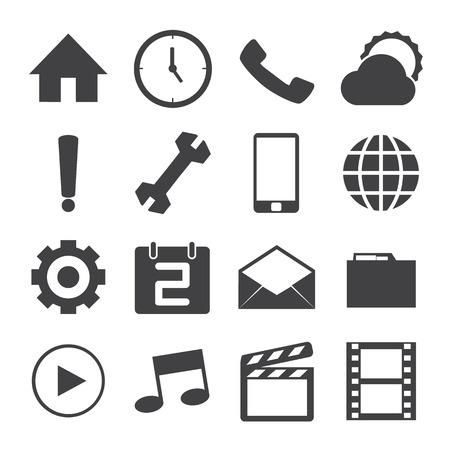 conection: Iconos m�viles Sistema blanco y negro. Vectores