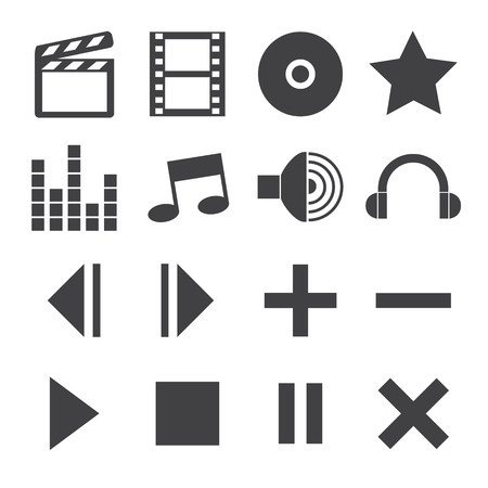 Black and White media player icons Vector