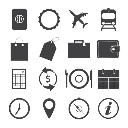Black and White Travel Icons. Vector