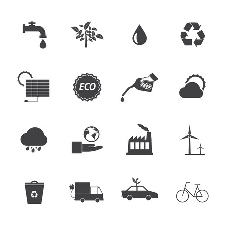 Black and White Eco icons set 2 Vector