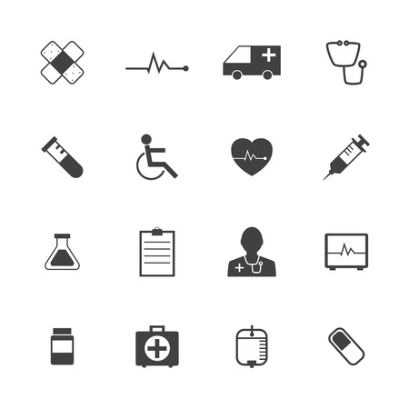 Black and White Medical Icons Collection Vector icon set.  Vector