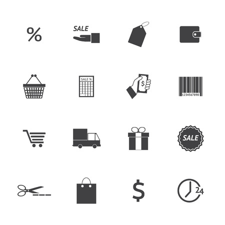 Black and White Shopping icons set.  Vector