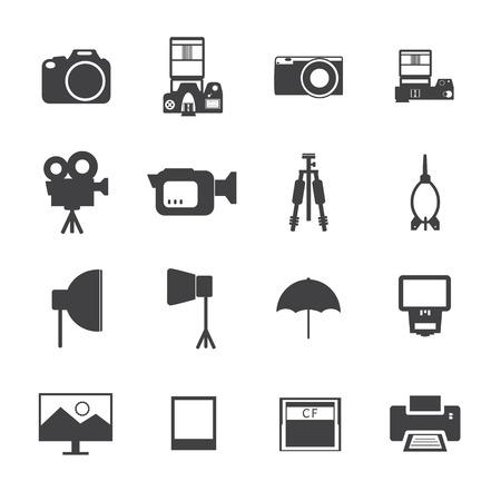 Blanco y Negro Cámara y accesorios iconos.