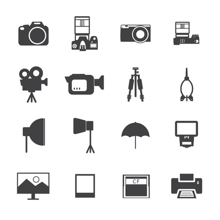 Black and White Camera and accessory icons. Vector