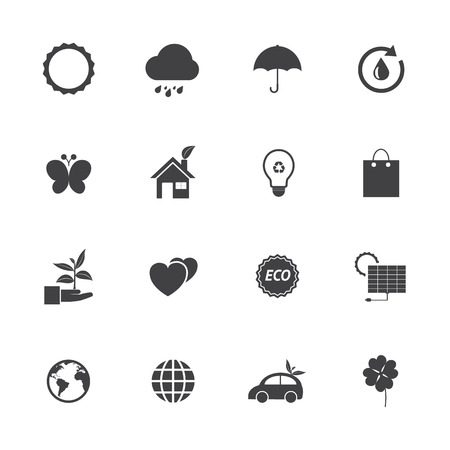 Black and White Eco icons set Vector