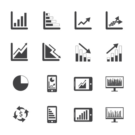 Black and White Business Graph icon set Vector