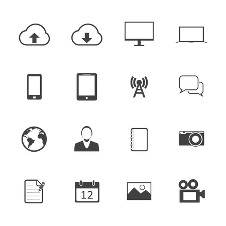 Black and White mobile phone icons. Vector