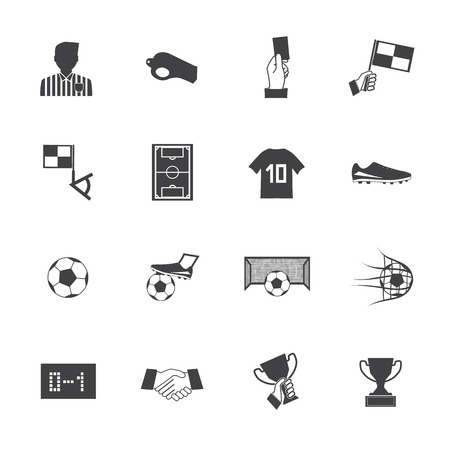 offside: Black and White Soccer football icons