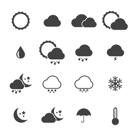 Black and White Icon set of weather. Vector