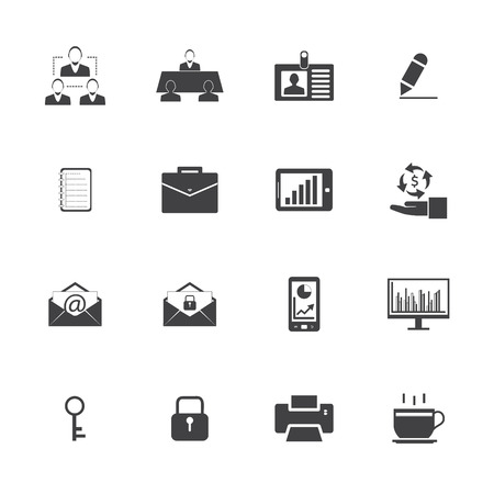 Black and White Business and office icons set. Vector