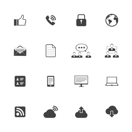 Black and White Internet icons set Vector