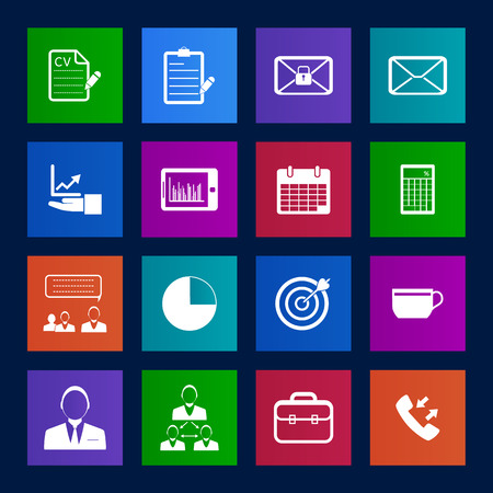 Metro style Business and office icons set. Vector