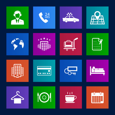 reception hotel: Metro style Hotel and Hotel Services Icons Illustration