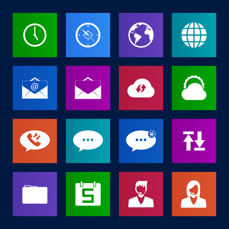 call log: Metro-style mobile phone icons connection set Illustration
