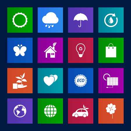 Metro style collection of Eco icons. Vector