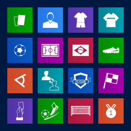 offside: Metro style Soccer football icons  Illustration