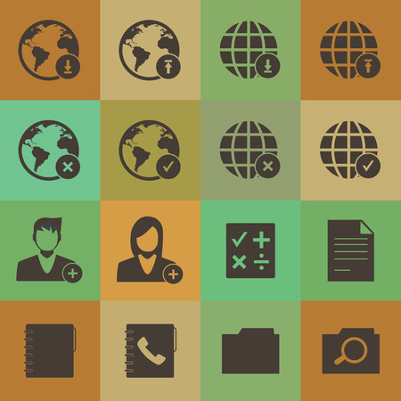 Grunge retro style  mobile phone icons network set Vector