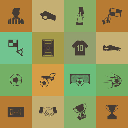 Retro style Soccer football icons set. Vector